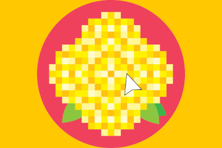 pixelated dandelion with a cursor icon hovering above