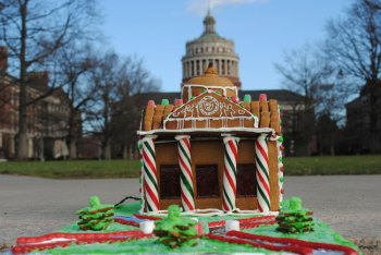 gingerbread house in shape of Rush Rhees