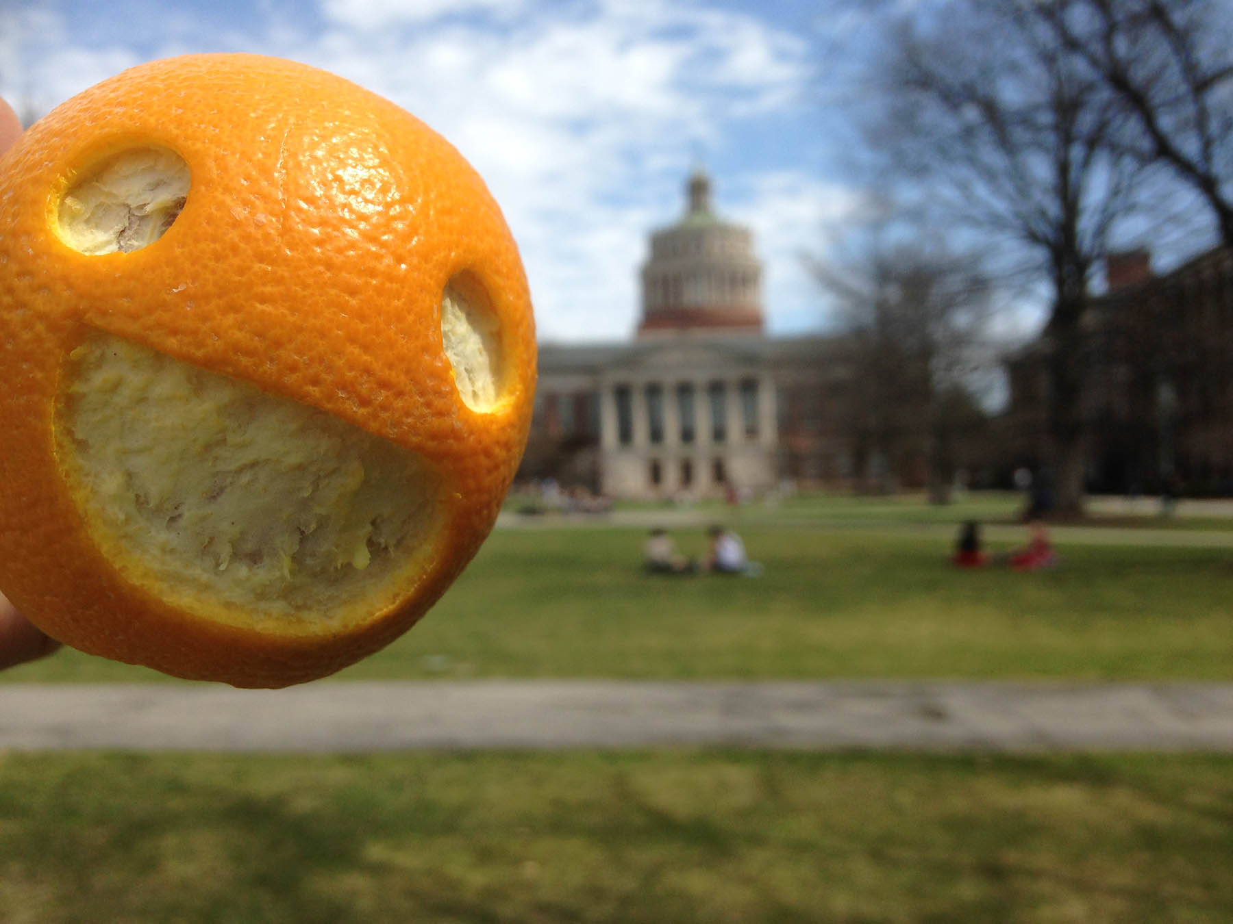 carved smiley orange in front of Rush Rhees