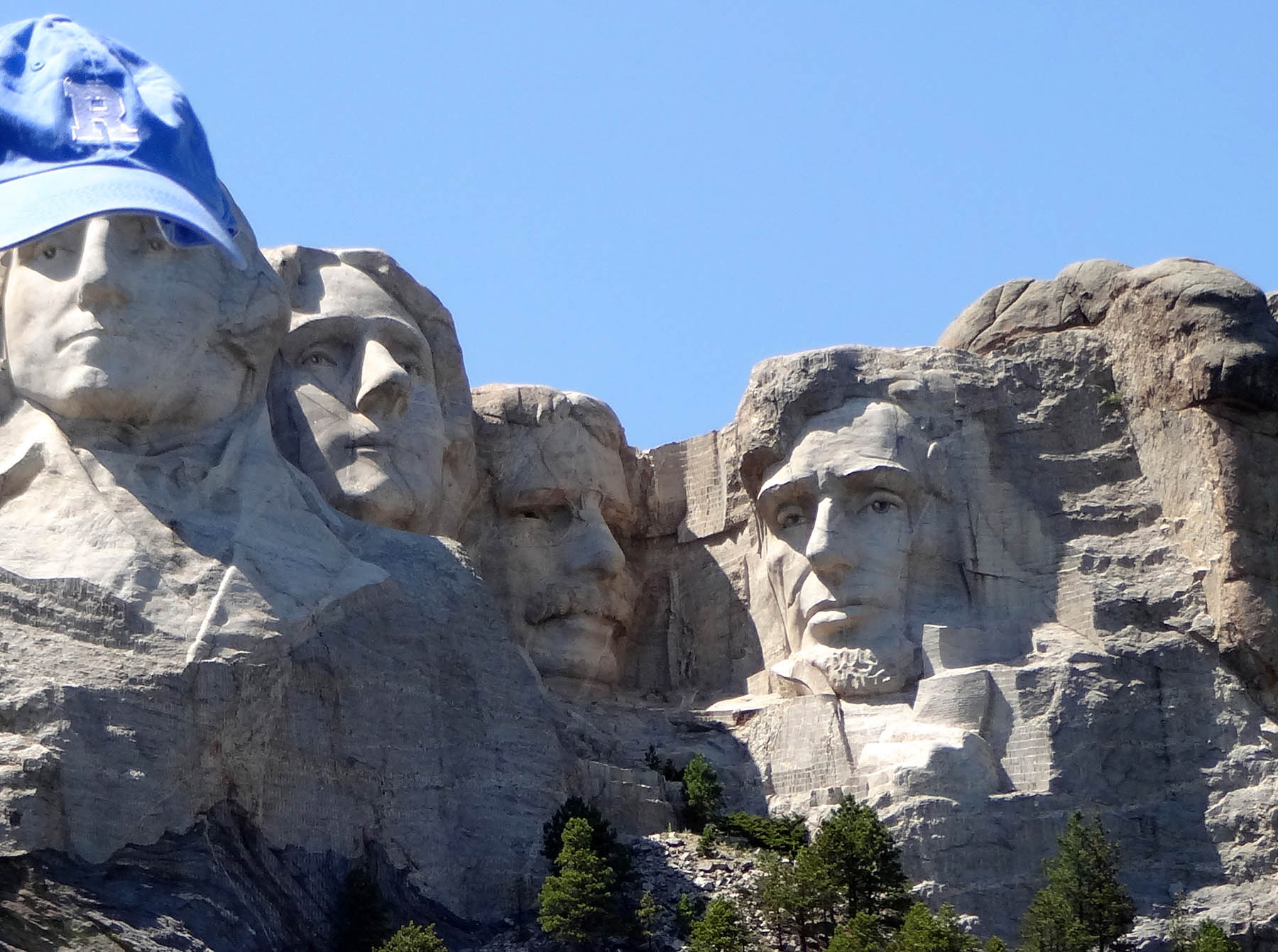 George Washington wearing a Rochester hat in Mt. Rushmore