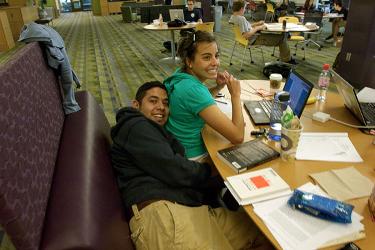 students in Gleason Library