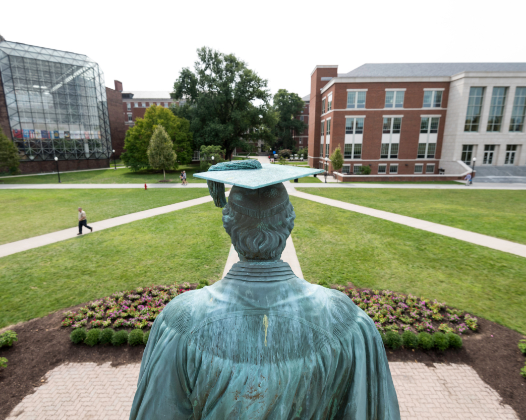 Statue of Martin Brewer Anderson and view of University of Rochester campus