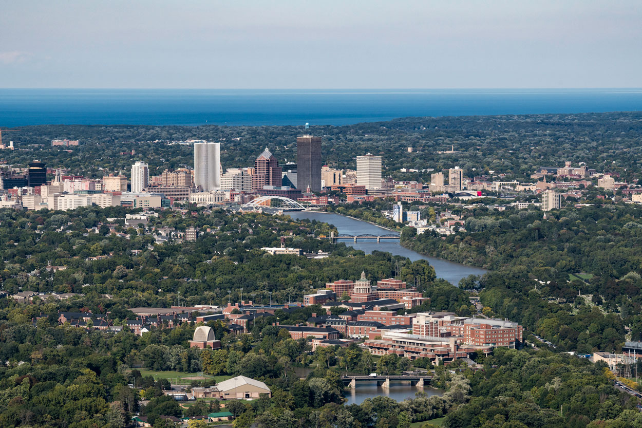 Aerial image of University of Rochester with city of Rochester in background