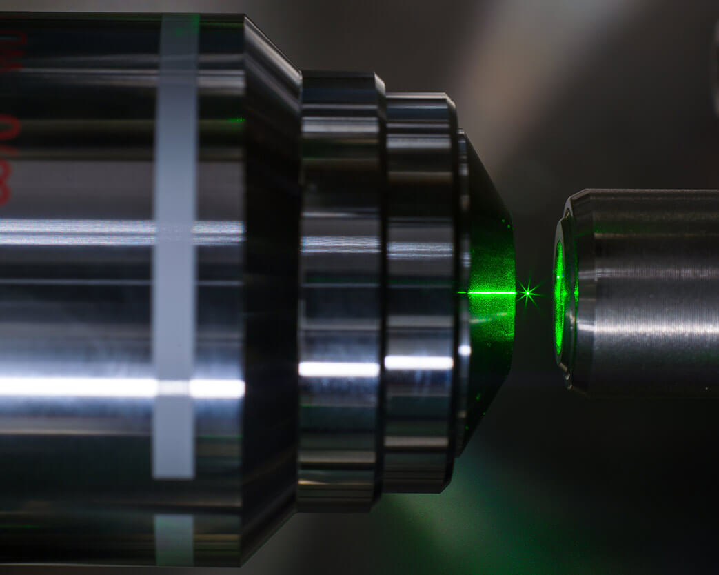 Close up of optical instrument at University of Rochester Institute of Optics