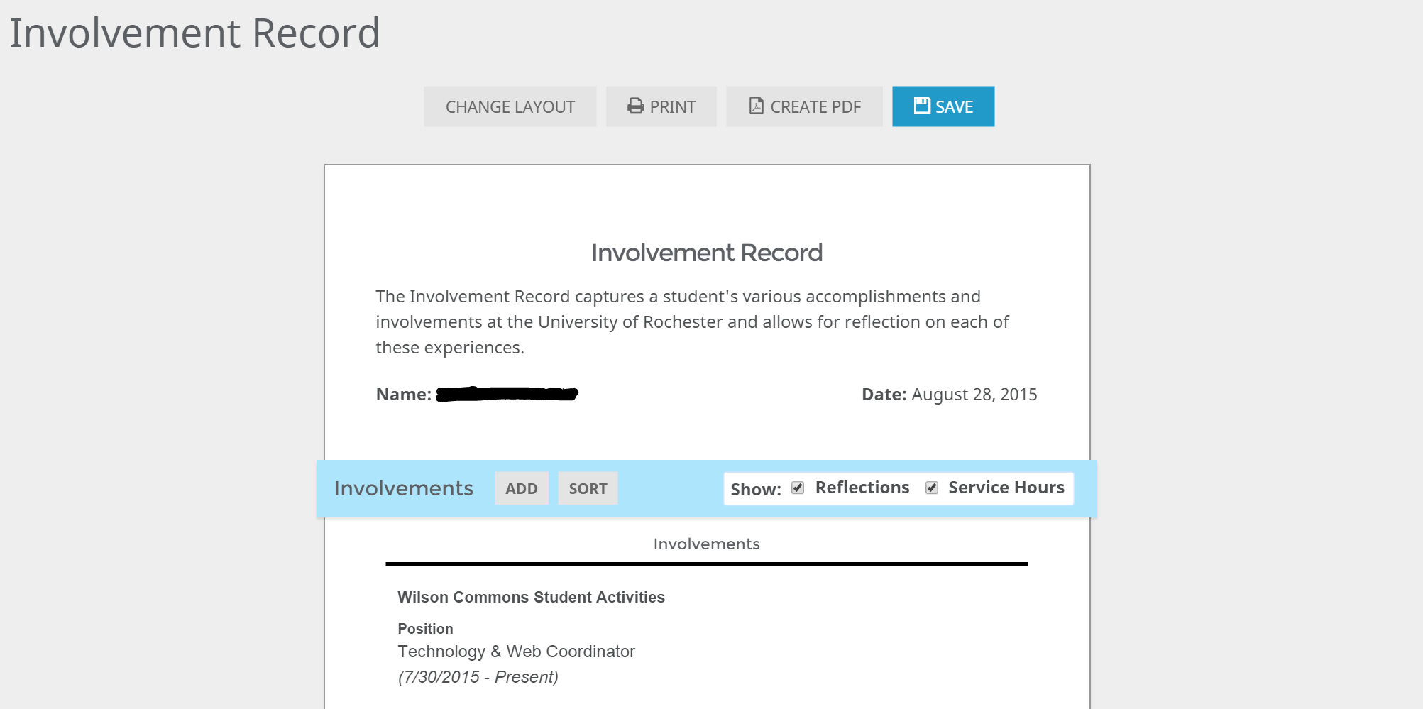 Involvement Record on CCC